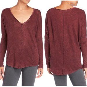 Free People Henley V-Neck Long Sleeve T-Shirt